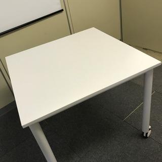 キャスター付き オフィステーブル 1台 ホワイト