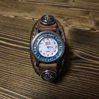 SAAD レザー腕時計 石付き クォーツ