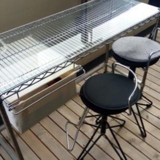 エレクター社のカウンターテーブルと丸井の椅子セット