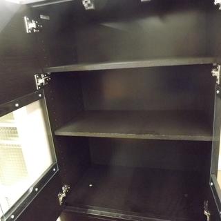 食器棚 キッチン収納 木製 扉付き 幅:68cm ダークブラウン 札幌 西岡店  - 家具