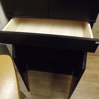 食器棚 キッチン収納 木製 扉付き 幅:68cm ダークブラウン 札幌 西岡店  − 北海道
