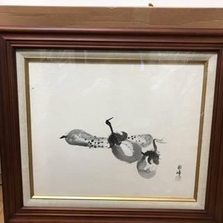 未使用?水墨画 彩峰作 茄子とキュウリの図 F8号 寸法(約)幅...