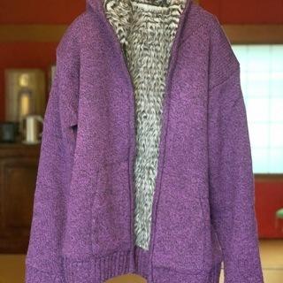 ニットパーカー ジャケット フード 紫