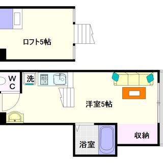 【ラヴェニール】2号タイプ!1K+ロフトタイプ!最上階だからロフト...