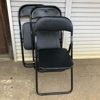 K パイプ椅子 3脚(黒色)折りたたみ椅子 会議、イベント用に!!