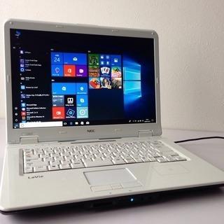 最新Windows10 NECラメ入り白ノートパソコンoffic...