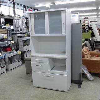 ニトリ キッチンボード レンジボード 食器棚 引き戸 白 鏡面仕上...