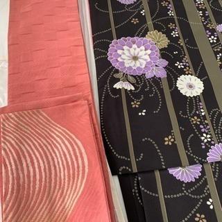 ポリエステル製着物と半幅帯