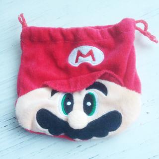 ふわふわの 任天堂キャラ マリオの巾着袋