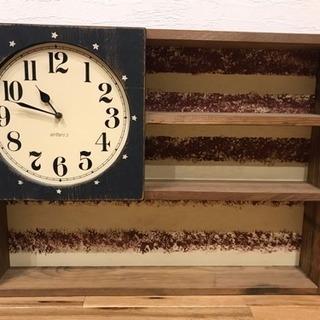 アンファン  飾り棚付き壁掛け、置き両用時計