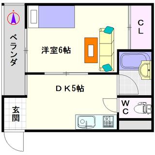 【青風ハイツ】3号タイプ!1DKタイプ!一人暮らしでも広い方がいい...