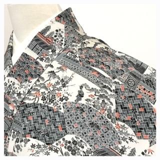 極上 特選 御誂 袷 小紋 正絹 時代画模様(クリーム)
