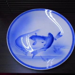 陶器製 鯉絵柄 大平皿