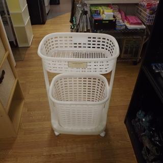 ランドリーバスケット 2段 ホワイト 札幌 西岡店