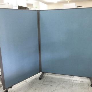 中古 パーテーション 2連 L字 キャスター付 オフィス用衝立 間...