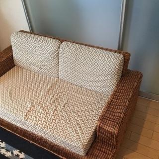 美品 オリジナル  ラタンソファ