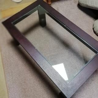 ◆差し上げます◆ 木+ガラスのテーブル