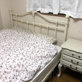 ダブルベッド ベッドフレーム チェスト サイドテーブル