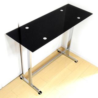 バーテーブル(カウンターテーブル) 天板ガラス製 ブラック×クロー...