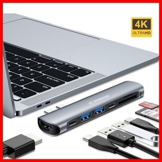 USB Type C hub mac 7-in-1  ハブ 相性抜...