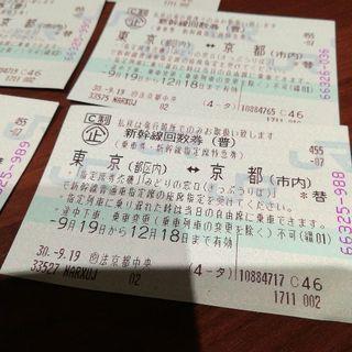 本日発新幹線チケット東京発京都まで。