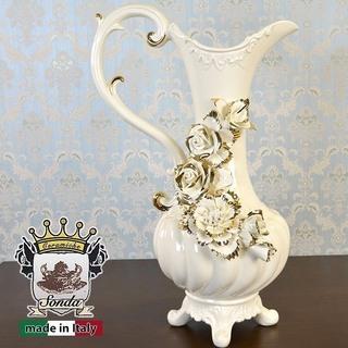 おしゃれ♪  イタリア製 「カプディモンテ」 金薔薇の飾り 花瓶