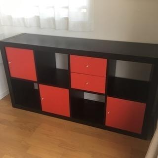 お譲り先決定!IKEA 棚 ブラック  赤引き出し付です。イケア...