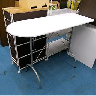 札幌【真っ白い天板のカウンターテーブル】幅121cm デスク 机 ...