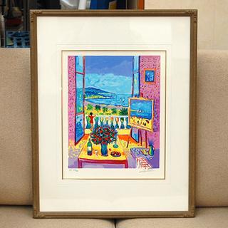 美品 リトグラフ ジャン・クロード・ピコ 「ニースの窓辺」 HC...