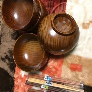 特製平盛汁椀&お箸4点セット  新品 お値下げしました!
