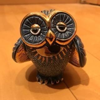 海外製 金彩 陶器のフクロウの置物 梟 小物
