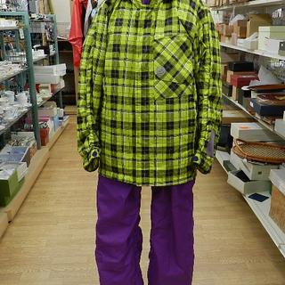 スキーウェア 160㎝ 上下セット サイズ調節可 紫/黄色 チェ...