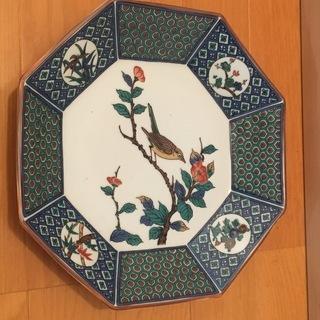 5千円 九谷焼 八角皿 青手花鳥図 青郊 飾り絵皿 大皿