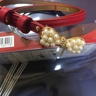 赤ベルト 女性用 シンプル細いリボンベルト