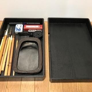 書道具セット 硯 筆 墨 水滴 文鎮 道具箱などまとめて16点