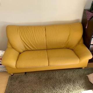 美品‼️リビング用ソファー 合成皮革 高さ調節可能 3人掛け