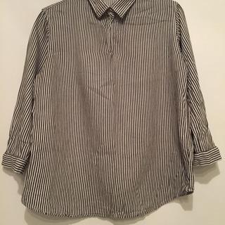 無印良品 七分袖ストライプシャツ M