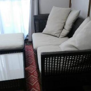 IKEAソファーセット(新しい座布団、クッション付き)
