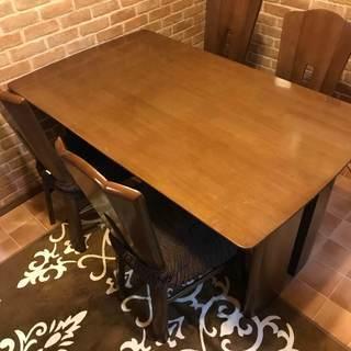 【予告・値下げしました!!】天然木のダイニングテーブルセット※難あ...