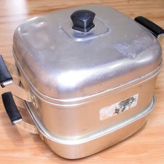 【無料】 アルミ製の蒸し器★蒸し鍋★内径24cm★昭和レトロ◆