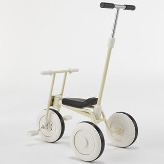 無印良品の三輪車 アイボリー舵取り棒つき