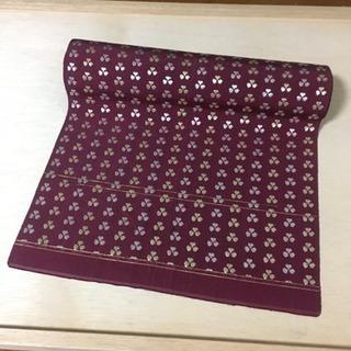 一重の帯 臙脂 金銀小花刺繍