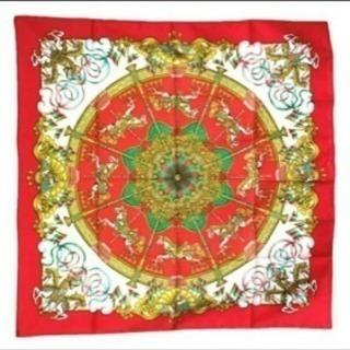 エルメス スカーフ  カレ90 ルナパーク メリーゴーランド  赤大判