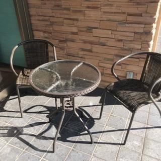 屋外用 テーブル イス 3点セット