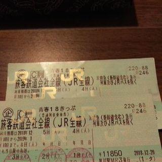 青春18きっぷ2回分2500円。1/10まで