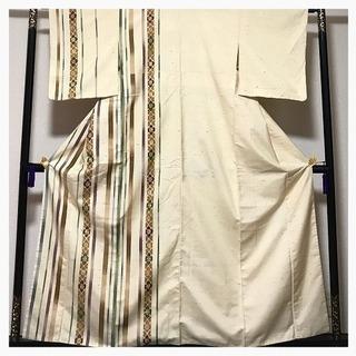 逸品 上質 ぜんまい紬 着物通 縞 花模様 訪問着 正絹 袷 中古品