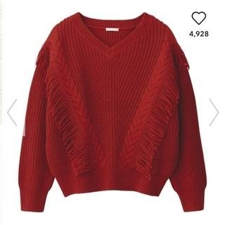GU/ジーユー  フリンジVネックセーター レッド 赤 M