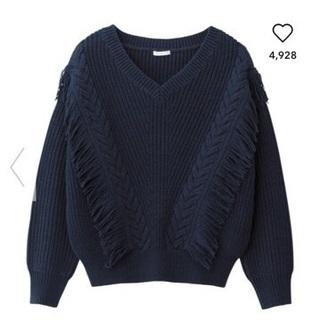 GU/ジーユー  フリンジVネックセーター ネイビー 紺 M