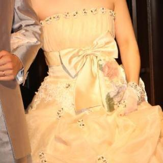 ウェディングドレス カラードレス ピンク ベージュ 9号 Aライ...