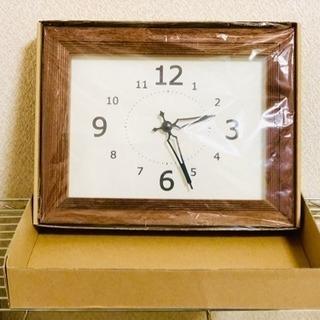 掛け時計 四角型 おしゃれ 値下げ! 木目 ブラウン 茶色